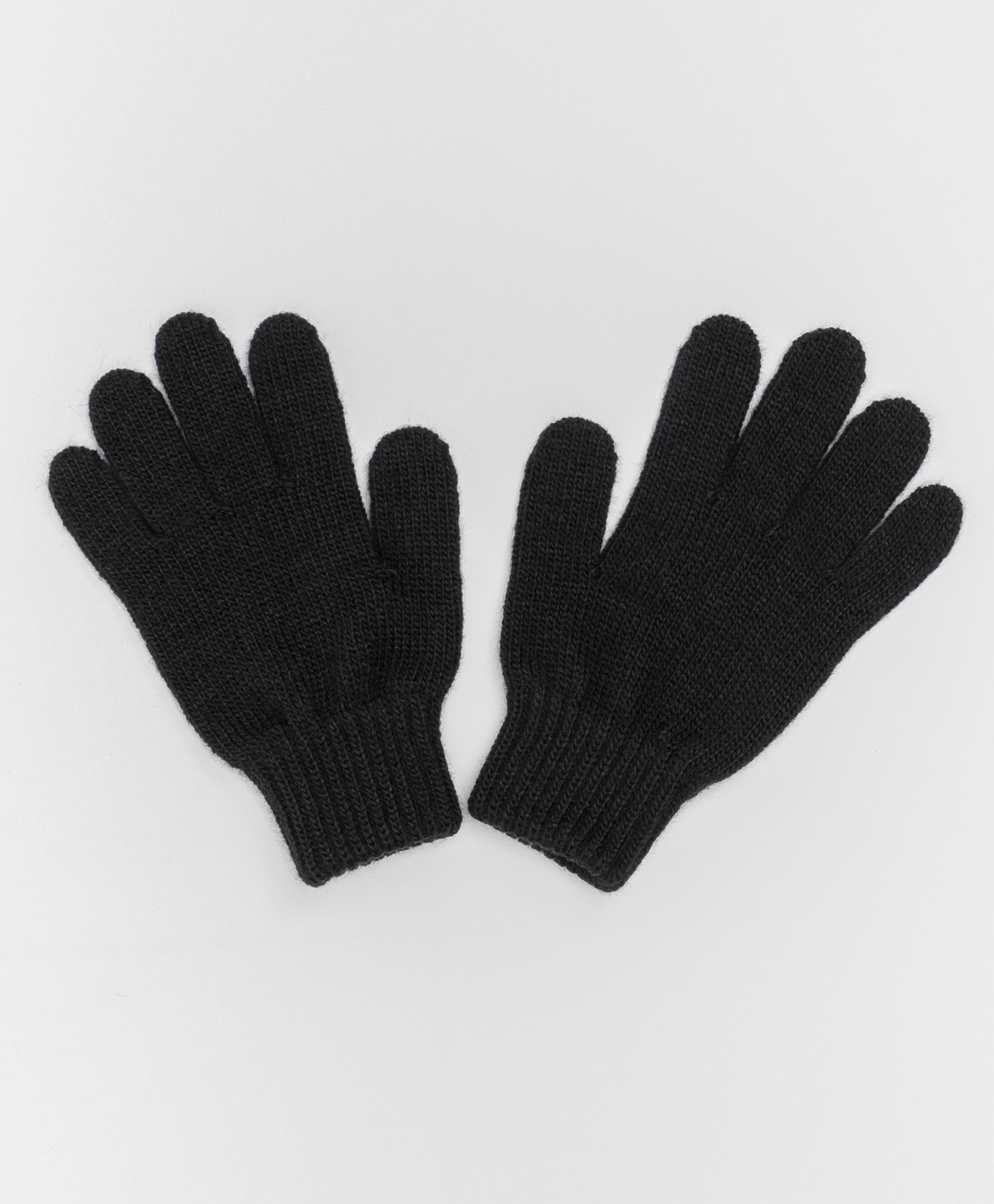 Купить Черные вязаные перчатки Button Blue 220BBGJX76010800, размер 18,