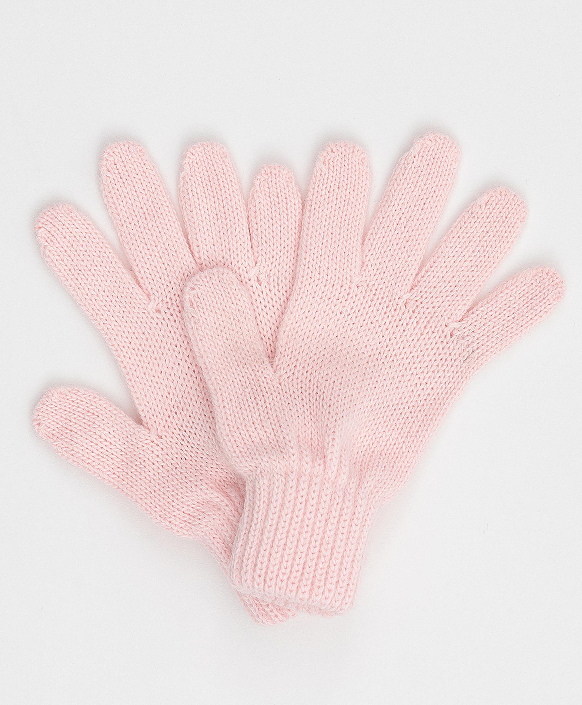Розовые вязаные перчатки Button Blue 220BBGMX76011200, размер