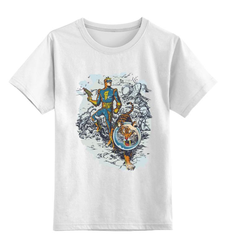 Купить 0000000726195, Детская футболка Printio Calvin, the spiffy spaceman цв.белый р.164,