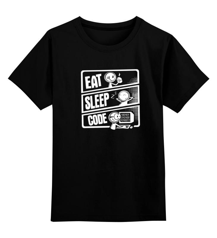 Детская футболка Printio Eat, sleep, code цв.черный р.104 0000000724956 по цене 990
