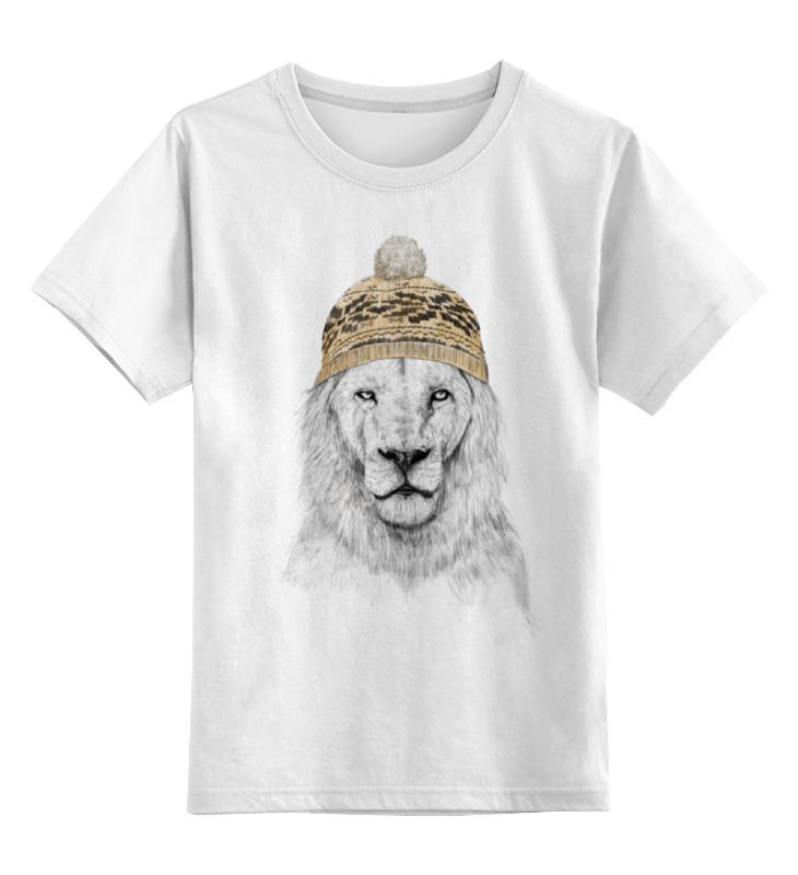 Детская футболка Printio Лев в шапке цв.белый р.104 0000000724942 по цене 790