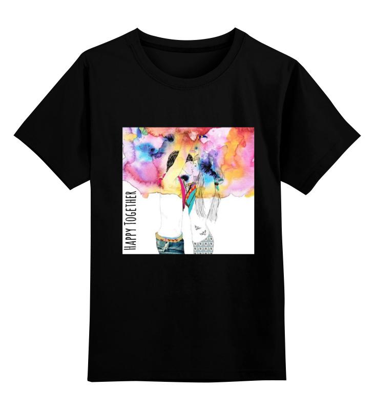 Детская футболка Printio Happy together цв.черный р.104 0000000721454