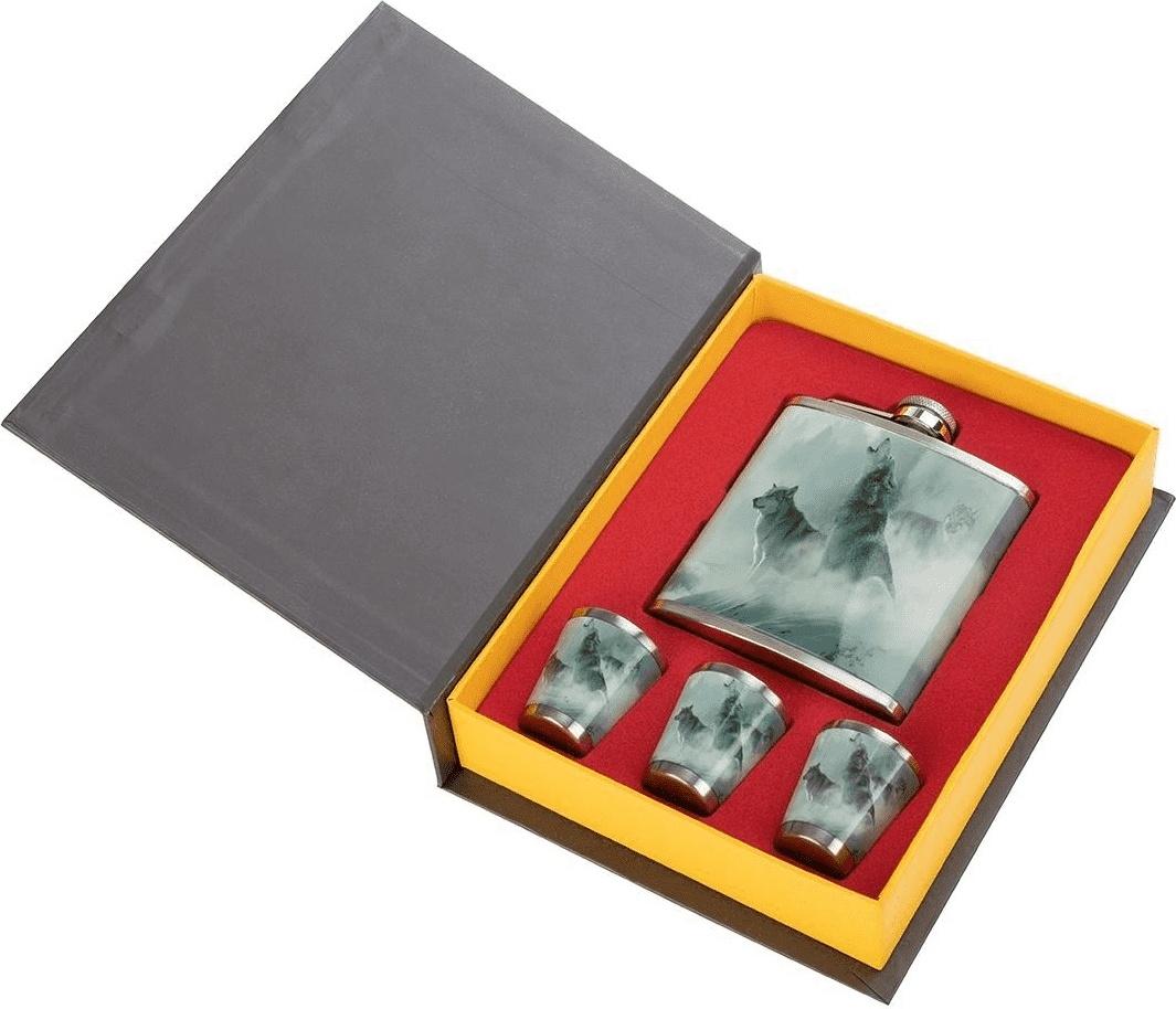 Набор Книга охотника Волки (фляжка 210мл + 3 стопки) Helios (HS-KO-W-A19)
