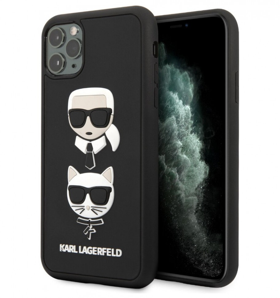 Чехол CG Mobile Karl Lagerfeld 3D Rubber Karl and Choupette iPhone 11 Pro Max Черный
