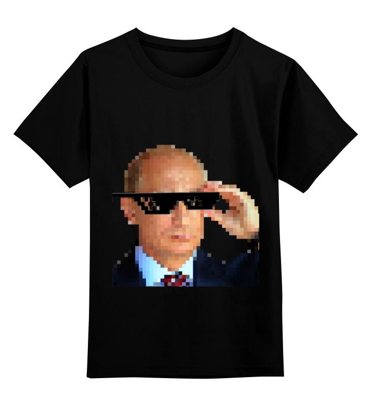 Купить 0000000722560, Детская футболка Printio Pixel putin цв.черный р.128,