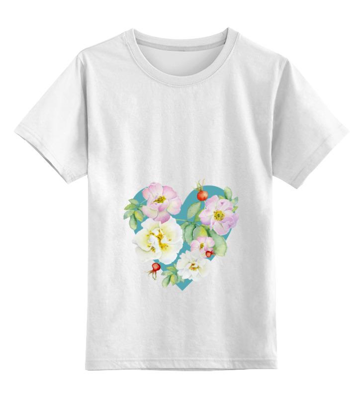 Купить 0000000721902, Детская футболка Printio Сердце цв.белый р.128,