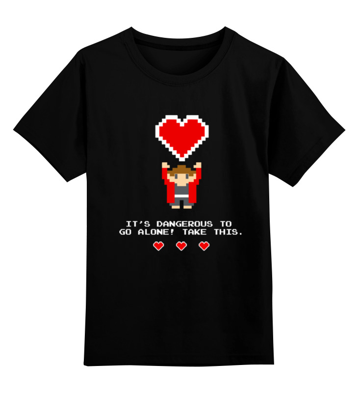Купить 0000000721525, Детская футболка Printio Возьми мое сердце! 8-бит цв.черный р.128,