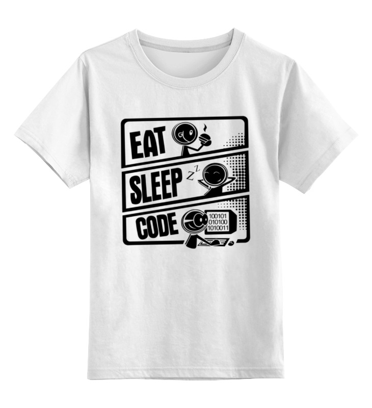 Купить 0000000721332, Детская футболка Printio Eat, sleep, code цв.белый р.128,