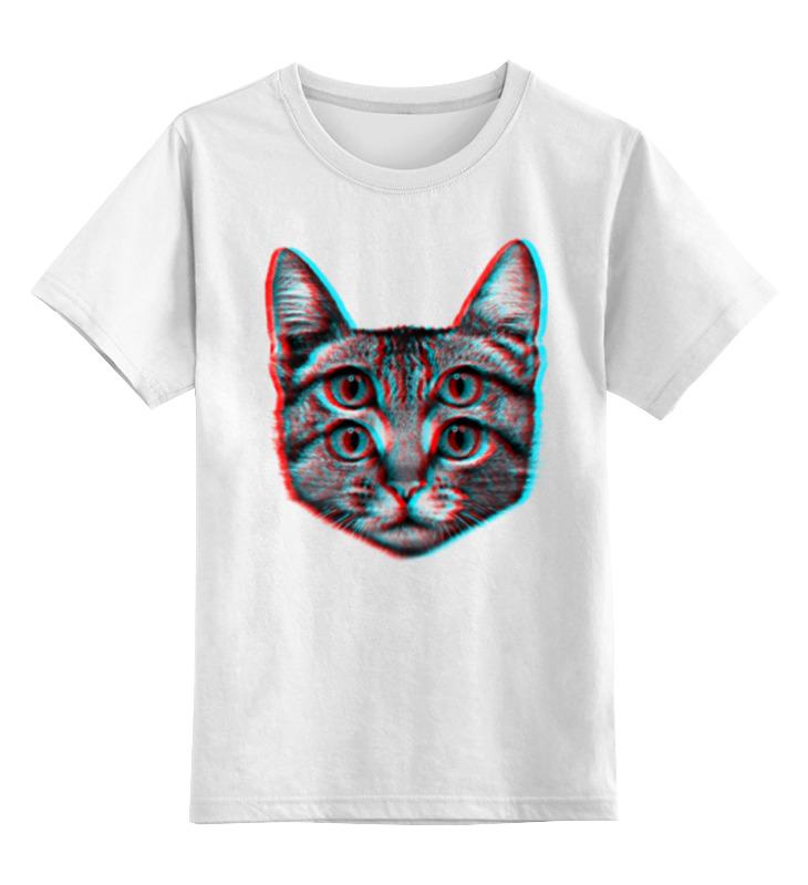 Купить 0000000718579, Детская футболка классическая Printio Кот 3d, р. 128,