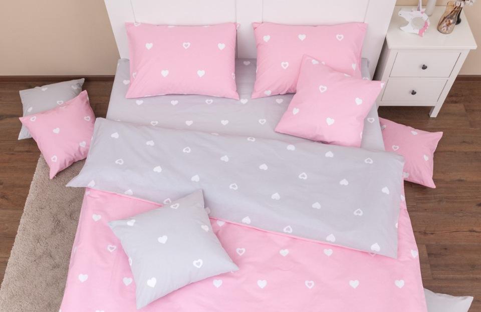 Купить Комплект постельного белья Хлопковый край Сердца розово-серый 1, 5 спальный, Хлопковый Край,