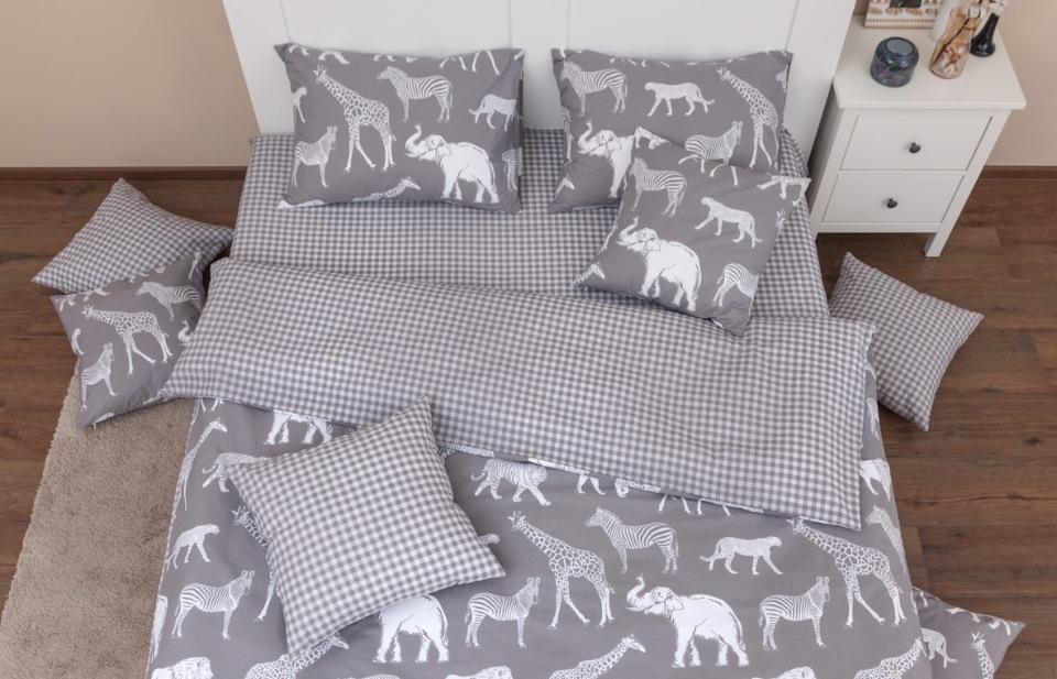 Купить Комплект постельного белья Хлопковый край Африка серый 1, 5 спальный, Хлопковый Край,