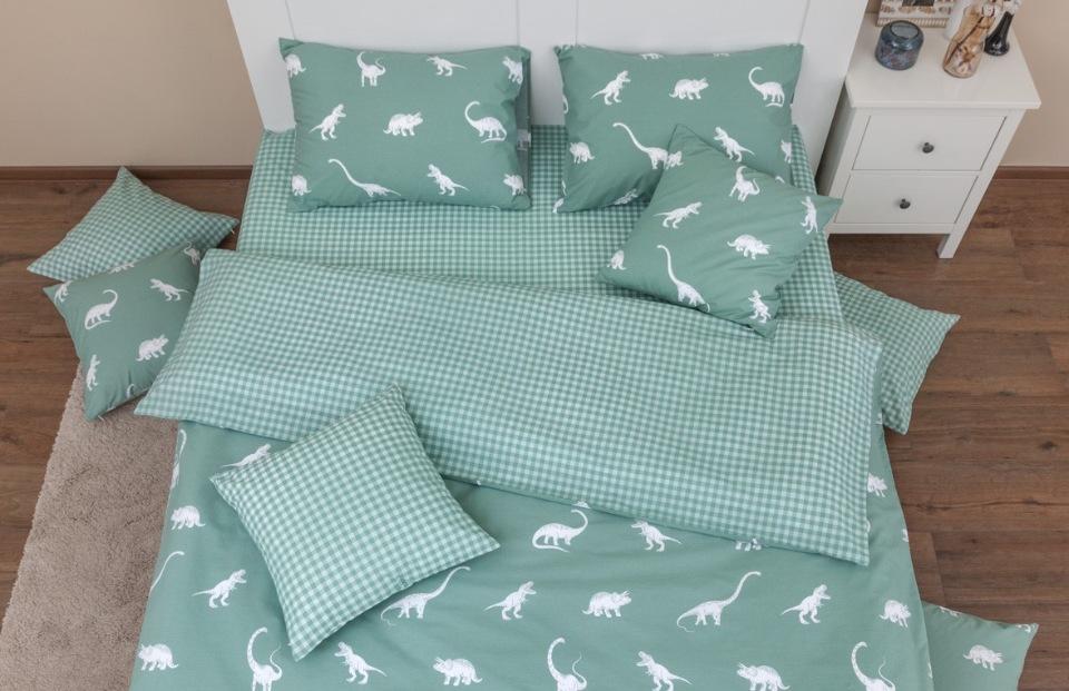 Комплект постельного белья Хлопковый край Динозавры полынь 1, 5 спальный, Хлопковый Край,  - купить со скидкой
