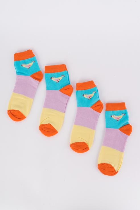 Набор носков женский Мой размер Ж-018_4 шт Желтый/фиолетовый разноцветный