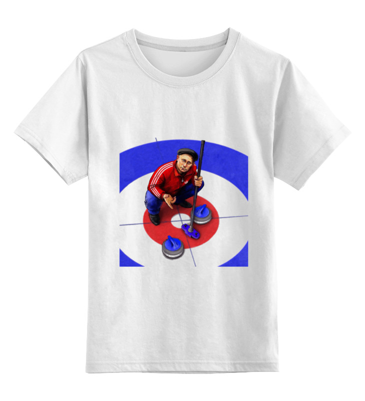 Купить 0000000721957, Детская футболка Printio Путин - керлинг цв.белый р.140,