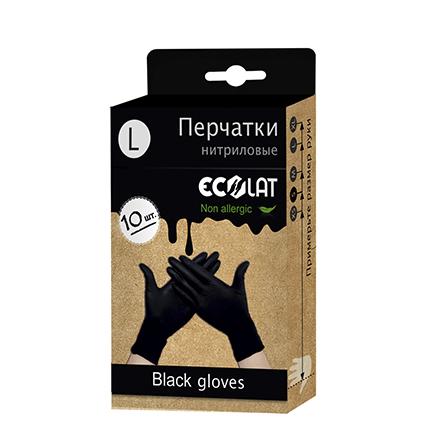 EcoLat, Перчатки нитриловые, черные, размер L,