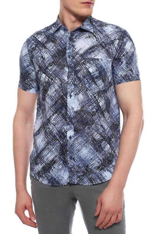 Рубашка мужская Sand SJ SS17 8823 PRINT синяя 44