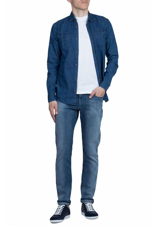 Джинсовая рубашка мужская Emporio Armani 99154 синяя 48