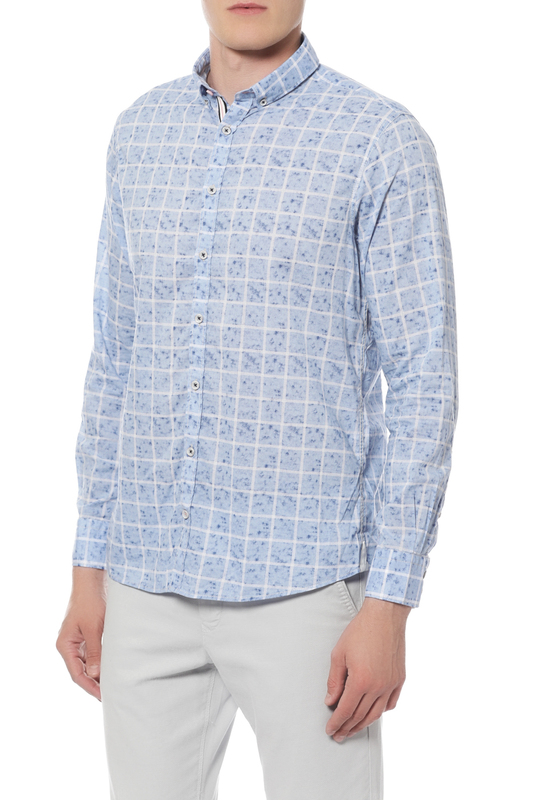 Рубашка мужская Colours & sons 91181300/013 голубая 50