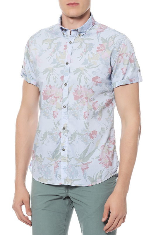 Рубашка мужская Colours & sons 9117/1600 голубая 48