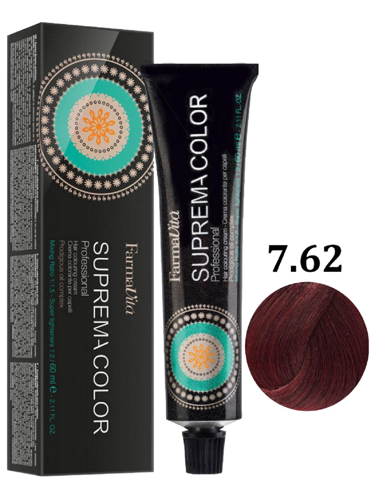 Купить Крем-краска для волос FarmaVita SUPREMA COLOR 7.62 блондин фиолетово-красный 60 мл