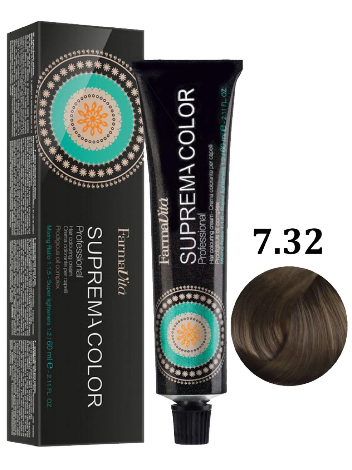 Купить Крем-краска для волос FarmaVita SUPREMA COLOR 7.32 блондин золотистый ирис 60 мл