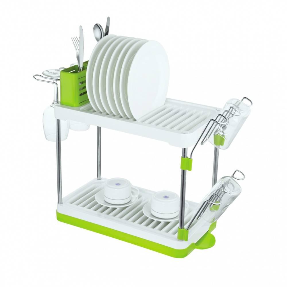Посудосушитель настольный двухъярусный хром/белый/зеленый, Lemax LF 144