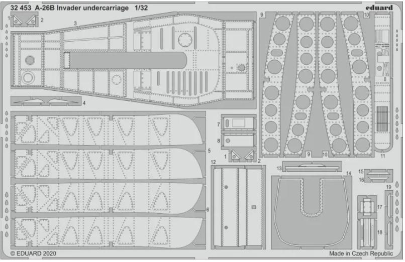 Фототравление Eduard 1/32 A 26B Invader шасси