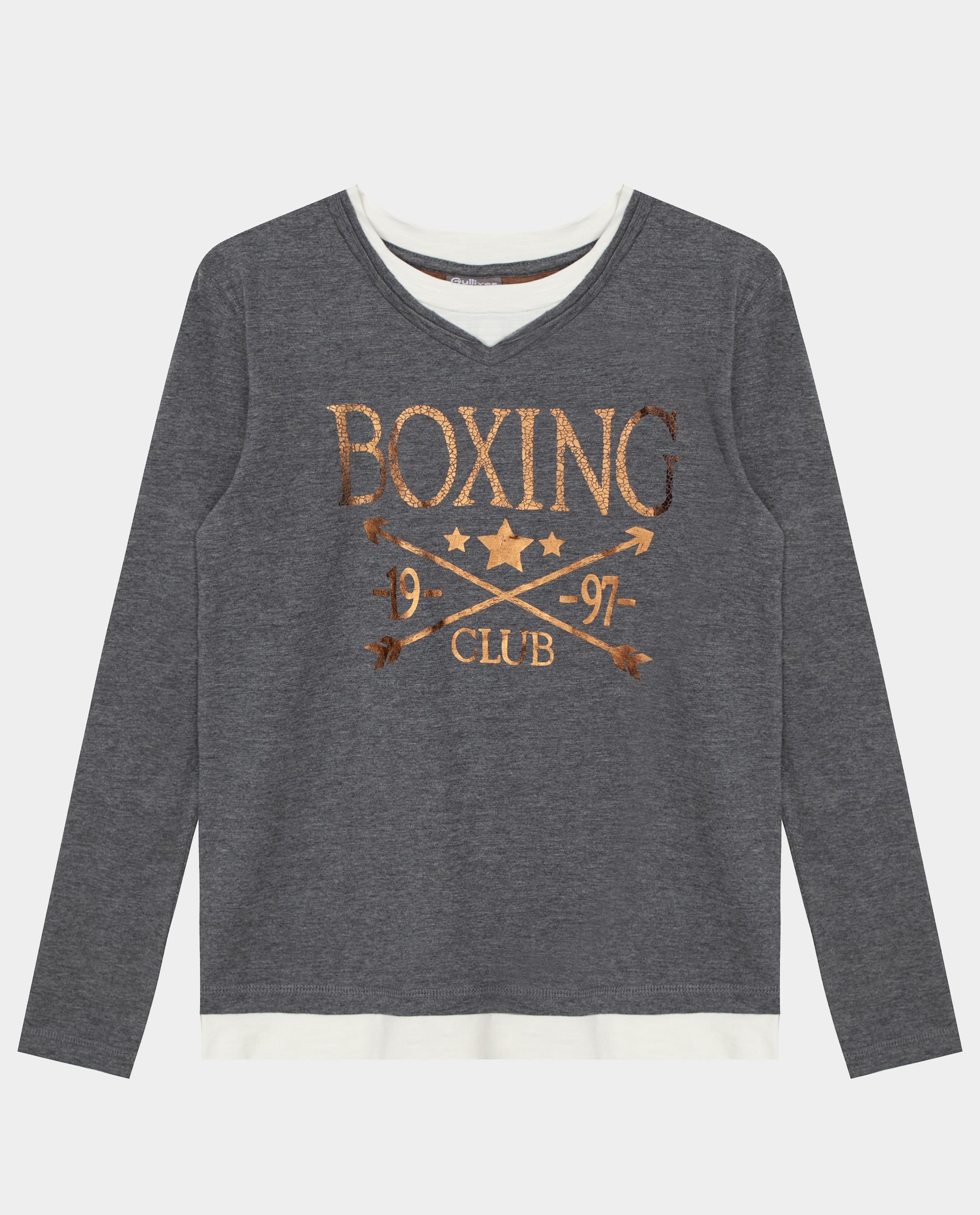 Купить Серая футболка с длинным рукавом Gulliver 22010BJC1201, размер 140,