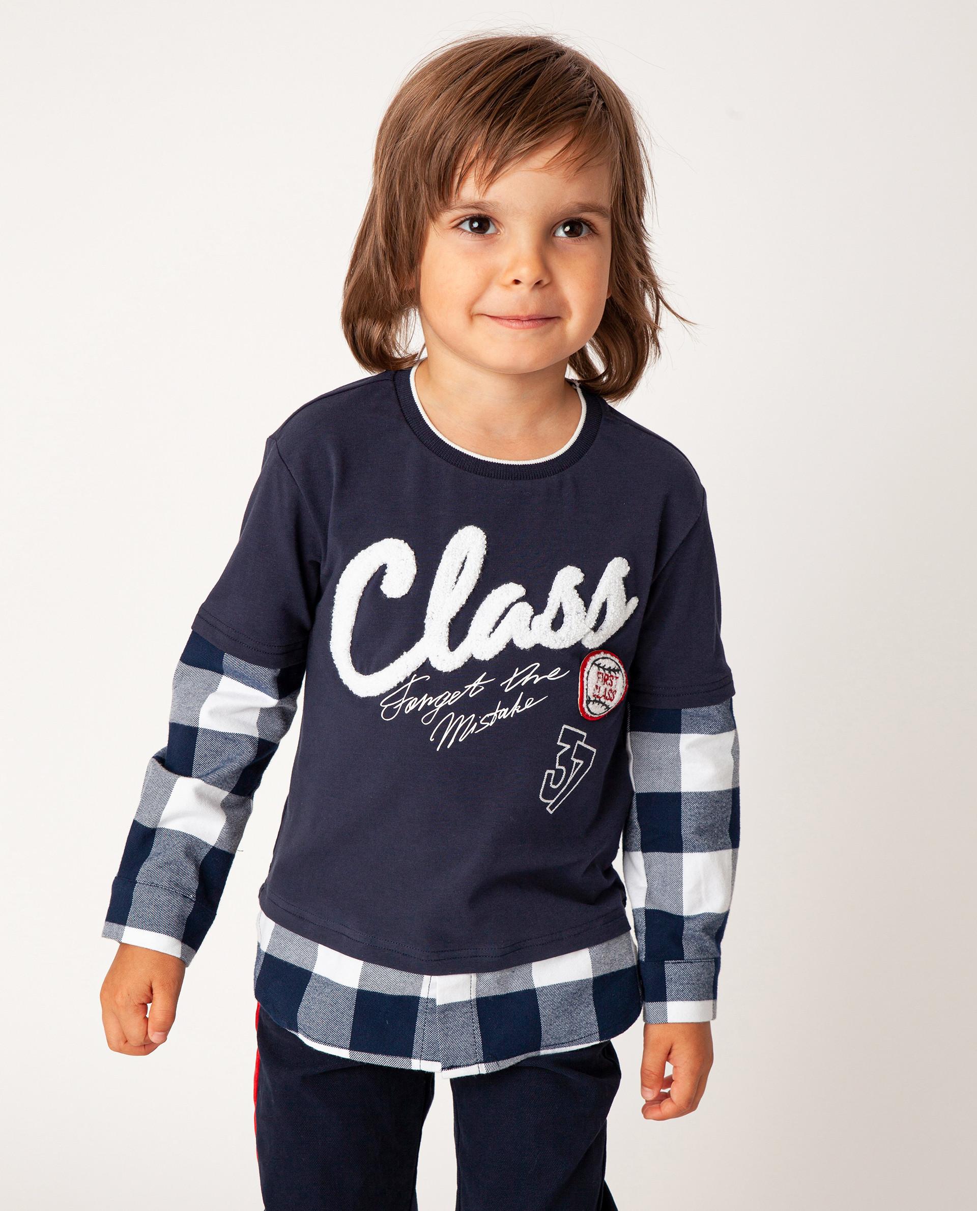 Синяя футболка с длинным рукавом Gulliver 22005BMC1210, размер 110,  - купить со скидкой