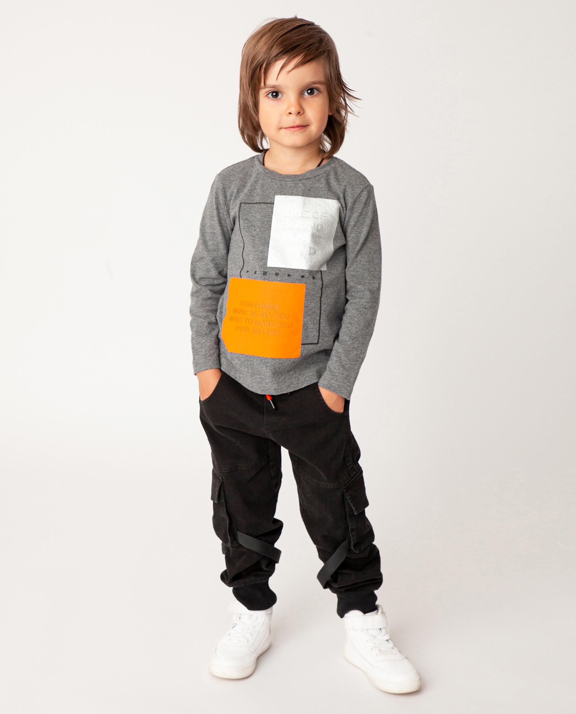 Купить Серая футболка с длинным рукавом Gulliver 22006BMC1203, размер 110,