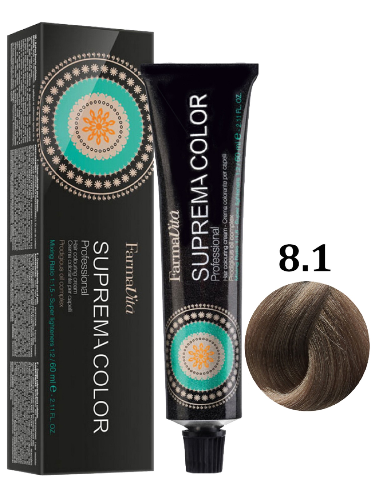 Купить Крем-краска FarmaVita SUPREMA COLOR для волос 8.1 светло-пепельный блондин 60 мл