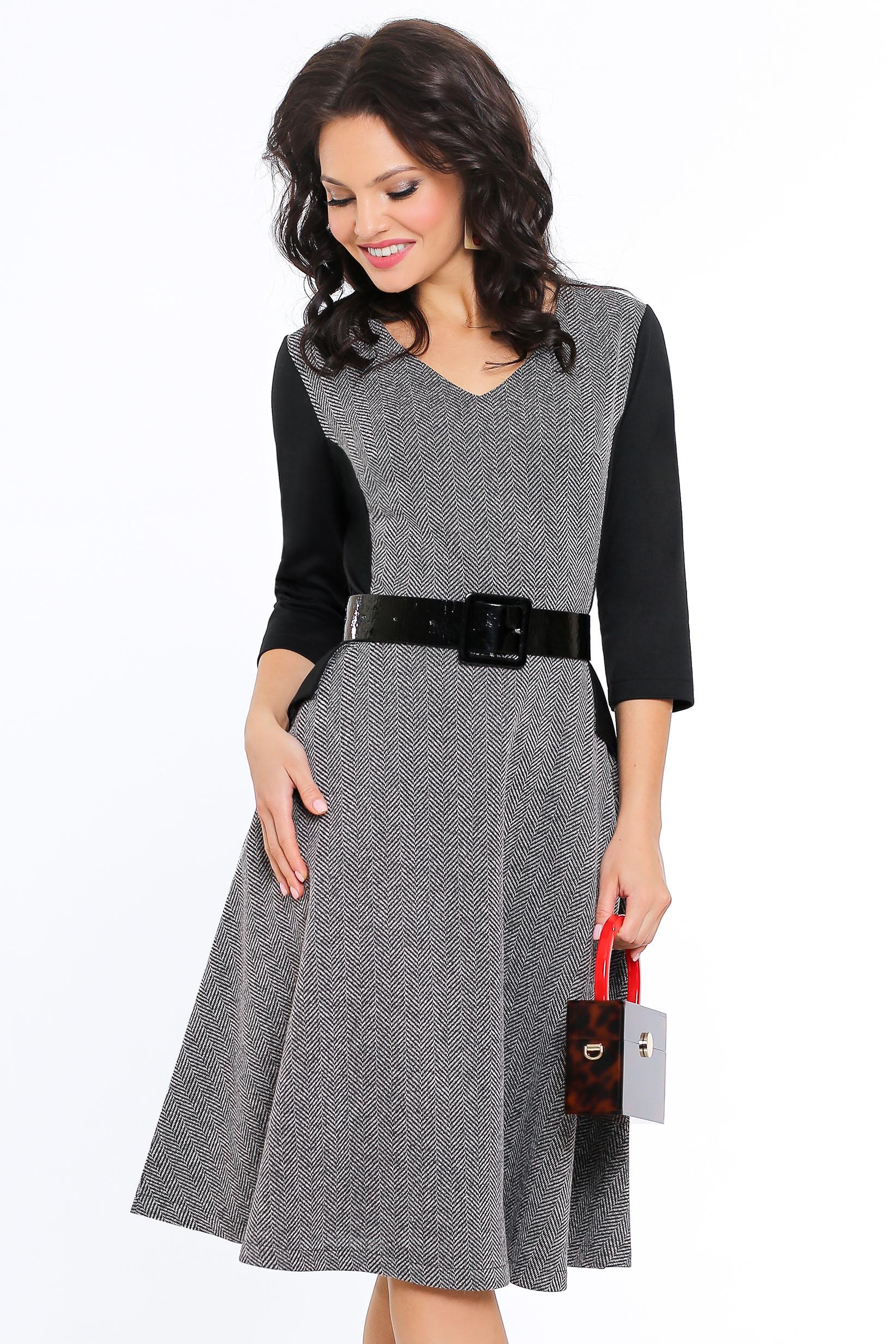 Платье женское Миллена Шарм 638 серое 54 RU