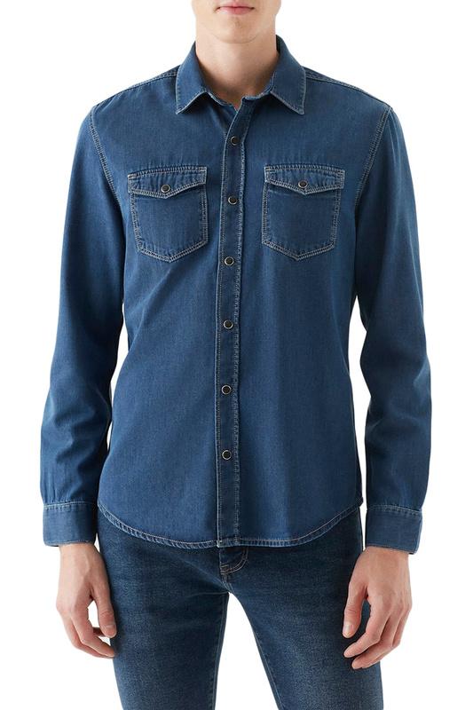 Джинсовая рубашка мужская Mavi 295732901 синяя 44