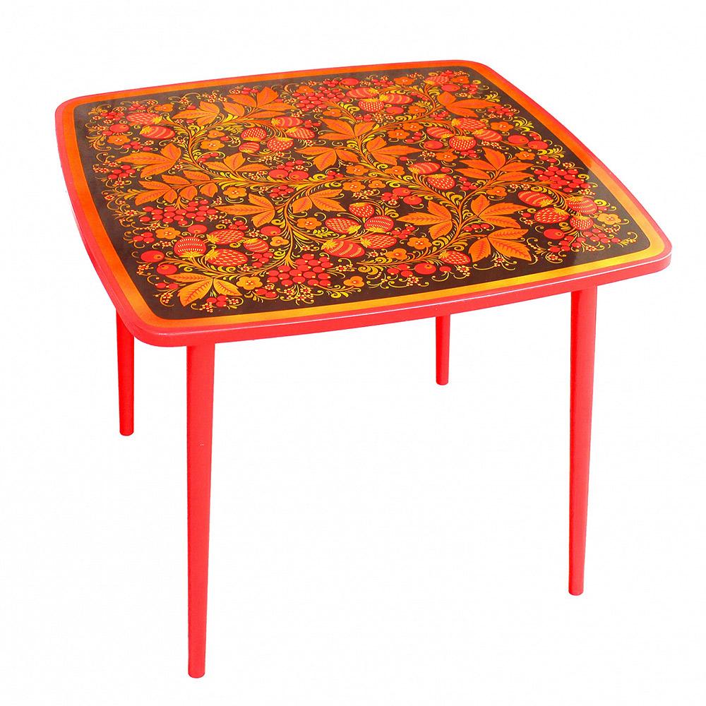 Купить Стол квадратный Хохломская роспись Хохлома осень Ягода/Цветок,