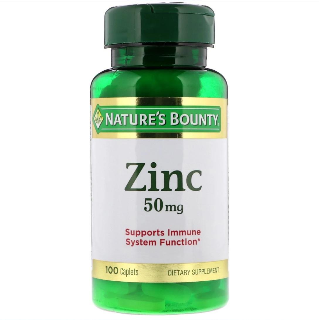 Купить Zinc 50 мг, Zinc Nature's Bounty 50 мг таблетки 100 шт.