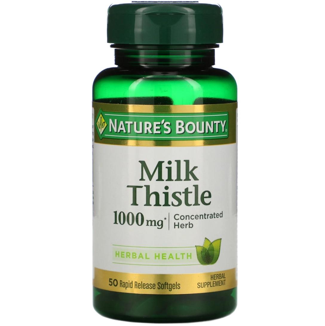 Milk Thistle - 1000 мг, Milk Thistle Nature's Bounty - 1000 мг капсулы 50 шт.  - купить со скидкой
