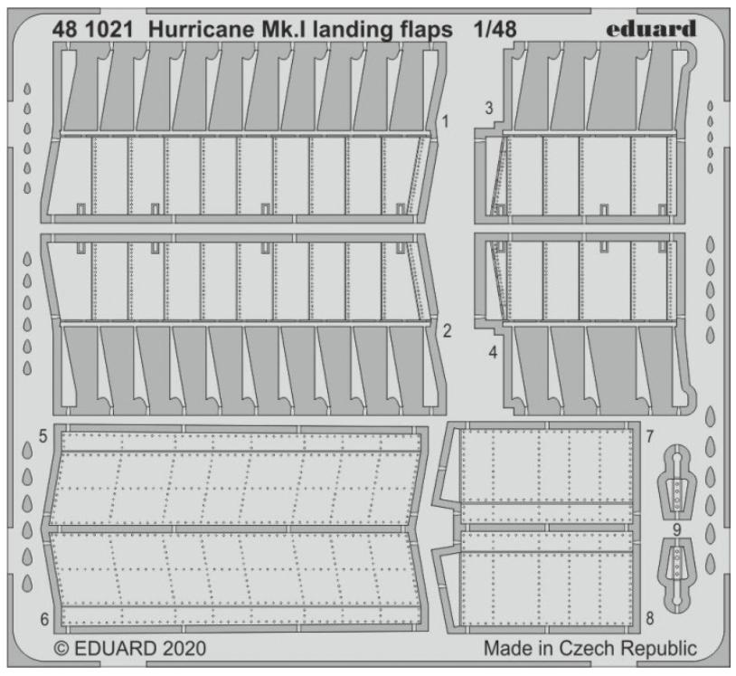 Фототравление Eduard 1/48 Hurricane Mk. I закрылки