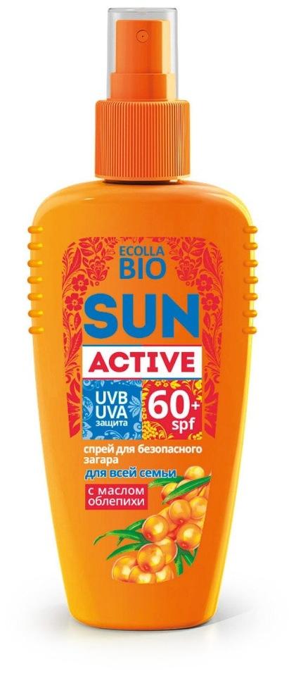 Купить Спрей для безопасного загара SPF-60+ для всей семьи Ecolla-BIO Sun Active , 120 мл, Солнцезащитная серия Ecolla-Bio Sun Active, Биокон
