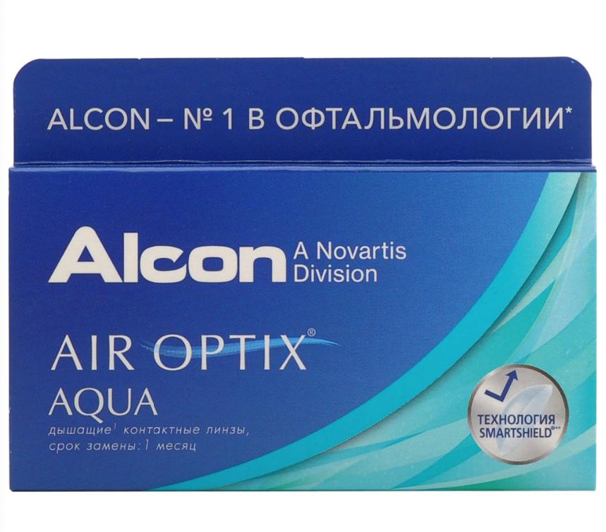 Купить Aqua 6 линз + Biotrue, Air Optix Aqua (6 линз) + Biotrue 300 мл.(8.6, -5.25)