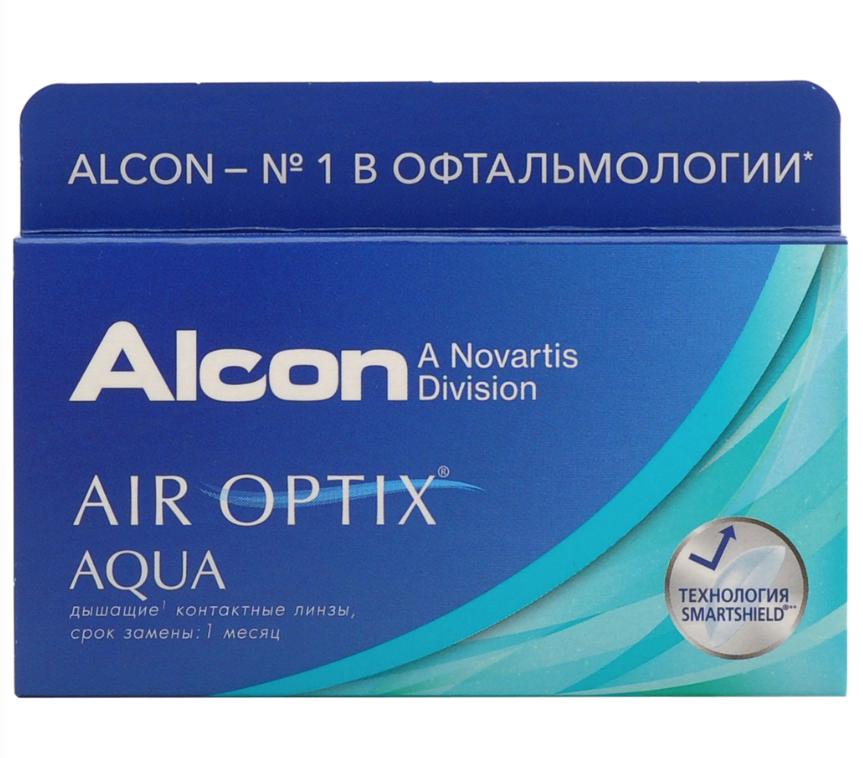 Купить Aqua 6 линз + Biotrue, Air Optix Aqua (6 линз) + Biotrue 300 мл.(8.6, -4.00)