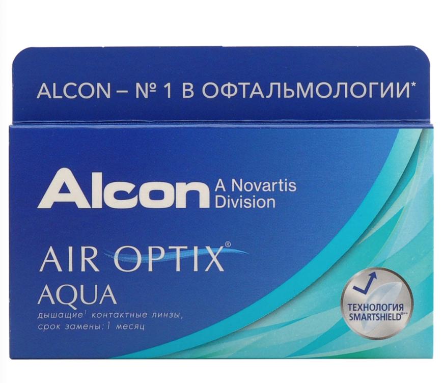 Купить Aqua 6 линз + Biotrue, Air Optix Aqua (6 линз) + Biotrue 300 мл.(8.6, -1.00)