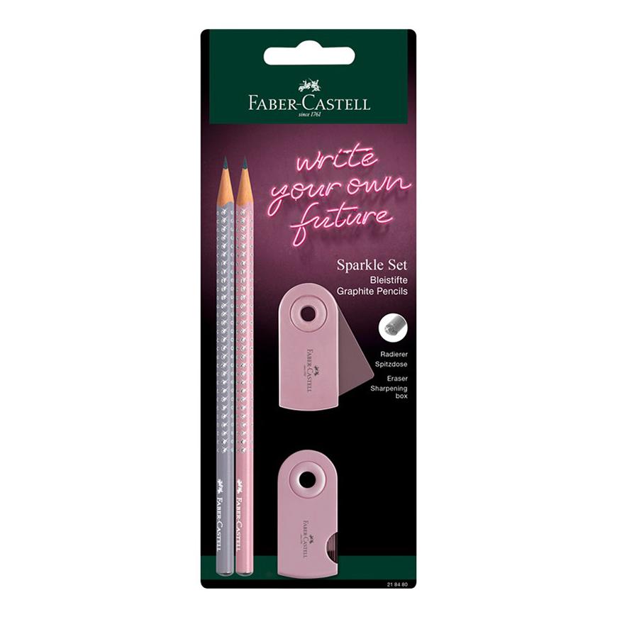 Карандаши простые чернографитные Faber-Castell Sparkle В с ластиком 2 шт