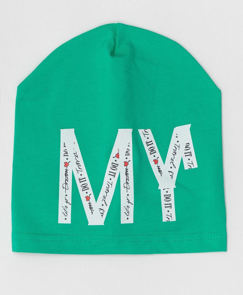 Купить 120BBGX73034800, Трикотажная шапка Button Blue для девочек зеленый 50,