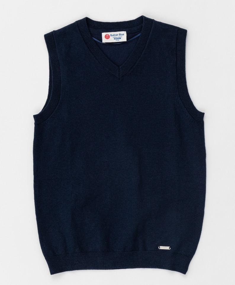 Синий трикотажный жилет Button Blue для мальчиков 170