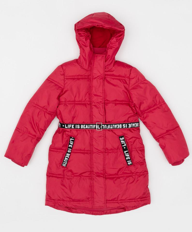 Купить 220BBGJC45023500, Розовое зимнее пальто с поясом Button Blue для девочек 140,