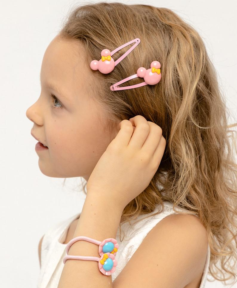Купить 120BBGX12041200, Комплект резинок для волос, 4 шт. Button Blue для девочек розовый,