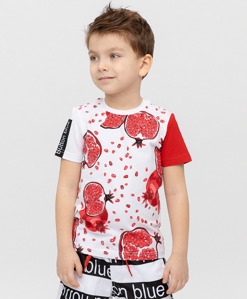 Купить 120BBBF12053519, Комплект из 2 футболок Button Blue для мальчиков красный 122,