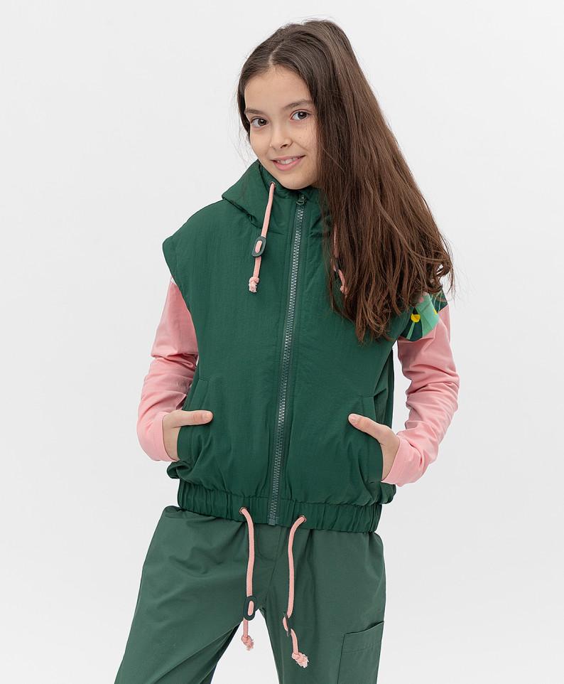 Зеленый жилет Button Blue для девочек 146
