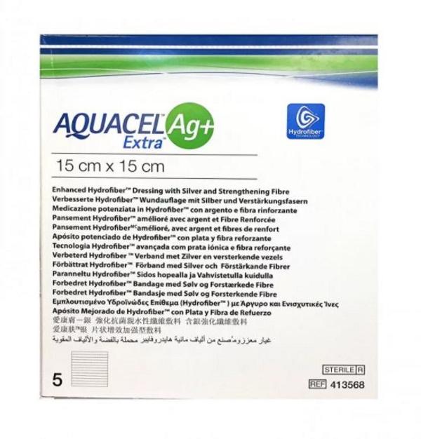 Купить Aquacel Extra Ag + Аквасель Экстра с серебром + абсорбирующая повязка с серебром 15x15 см, ConvaTec