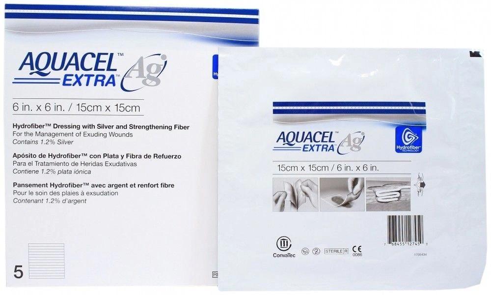Купить Aquacel Extra Ag / Аквасель Экстра с серебром - абсорбирующая повязка с серебром, 15x15 см, ConvaTec